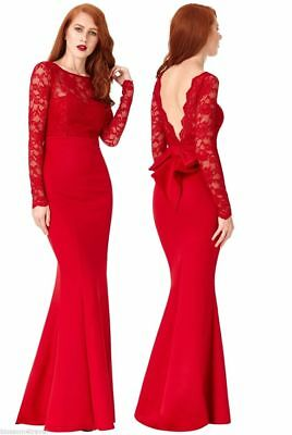 Goddiva Long Red Lace Open Back Bow Maxi Evening Party Dress Prom Bridesmaid