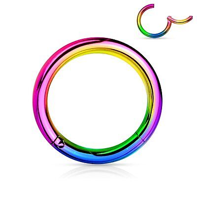 Steel Hinged Clicker Segment Septum Lip Nose Hoop Ring Helix Daith Cartilage