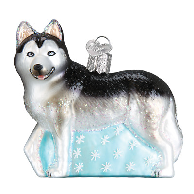 """Siberian Husky"" (12489)X Old World Christmas Glass Ornament w/OWC Box"