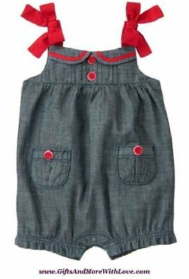 Gymboree NWT 1-pc Chambray Blue BUTTONS BOWS DRESS ROMPER OUTFIT 0 3 6 9 12 M