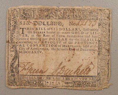 1775 Maryland $6 Colonial Currency VG