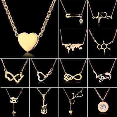 Fashion Simple Love Heart Butterfly Pendant Necklace Jewelry Women Friend Gift