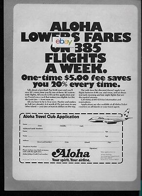 Aloha Airlines Boeing 737-200 1977 Lower Fares On 385 Flights A Week Club Ad