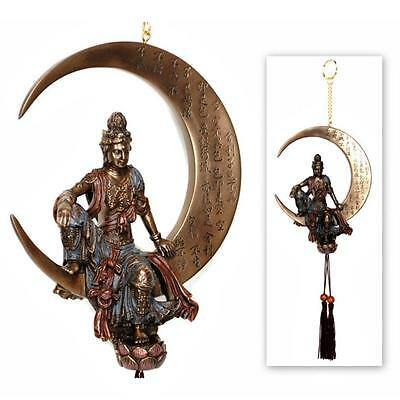 KWAN YIN WATER & MOON DREAM CATCHER Hanging Tassel NEW Statue Bronze Quan Guan
