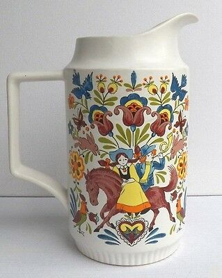 Beautiful Ceramic Pitcher Made In Japan Hand Painted Girl, Boy With Horn & Horse