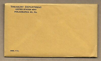 1963 United States Mint 5-Coin Silver Proof Set Sealed In Mint Envelope