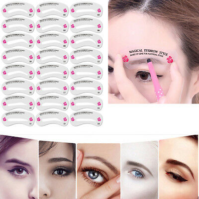 1Set/24Style Template Eyebrow Drawing Card Brow Make-Up Stencil Grooming Shaping