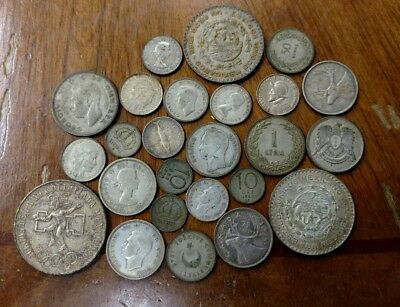 UUUGE (25) Coin Pile of Unsearched Unsorted World Foreign Silver Coins!
