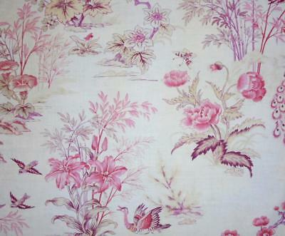 BEAUTIFUL LATE 19th CENTURY FRENCH LINEN COTTON TOILE DE JOUY, BUTTERFLY BIRDS