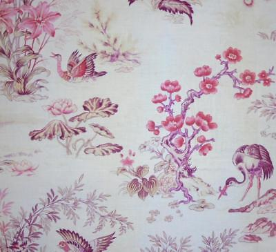 BEAUTIFUL LATE 19th CENTURY FRENCH LINEN COTTON TOILE DE JOUY, PEACOCK HERON