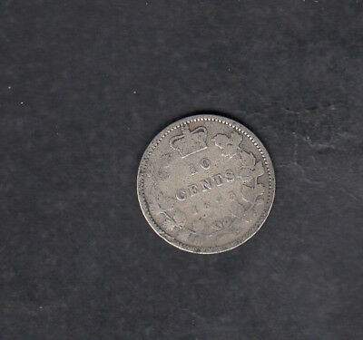 1893 Flat Top 3 Canada Silver 10 Cents