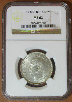 Great Britain Two Shillings 1939,NGC MS 62