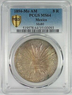 1894-Mo Mexico 8 Reales Silver Coin PCGS MS64