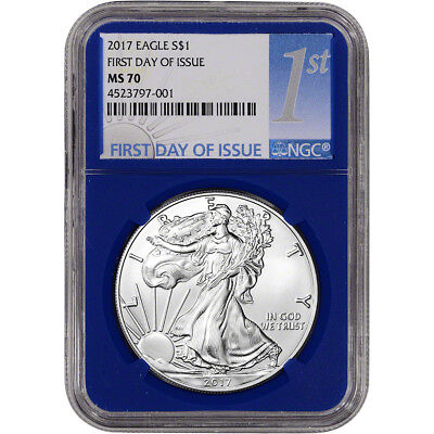 2017 American Silver Eagle - NGC MS70 - First Day Issue 1st Label Blue Holder