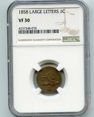 1858 Large Letters Flying Eagle Cent (VF 30) NGC