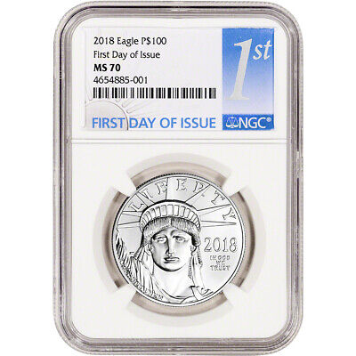 2018 American Platinum Eagle (1 oz) $100 - NGC MS70 First Day Issue 1st Label