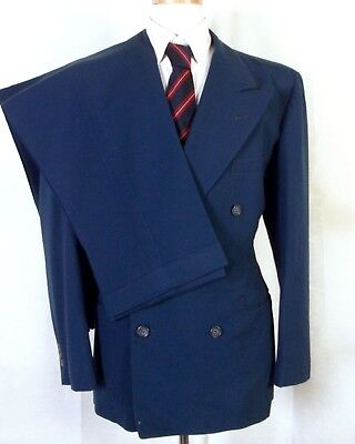 vtg 40s 1940s Curlee Blue Wool 2 Pc Double Breasted Suit canvassed peak lpl 40 R