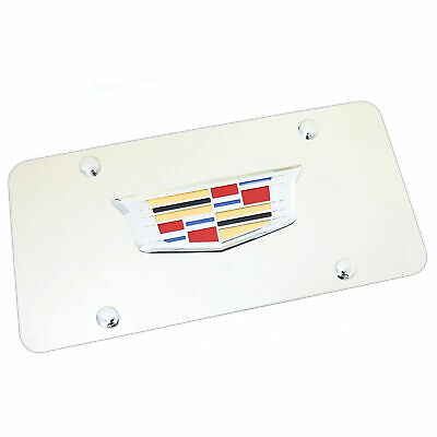 Cadillac New Crest Logo On Chrome License Plate