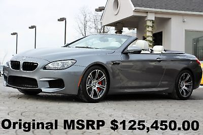 BMW M6 Convertible 2015 Space Gray Metallic on Opal White Full Merino Leather M DCT Like New Auto