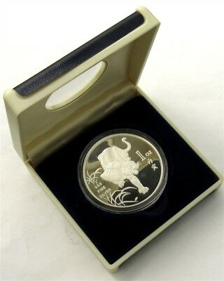 1986 Singapore Mint Year of the Tiger 1oz .999 Silver Proof Coin, Original Case