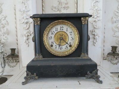FABULOUS Old Vintage WOOD Table MANTLE CLOCK  Very Ornate Decorative NON WORKING