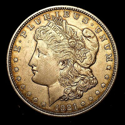 1921 D ~**ABOUT UNCIRCULATED AU**~ Silver Morgan Dollar Rare US Old Coin! #Y65