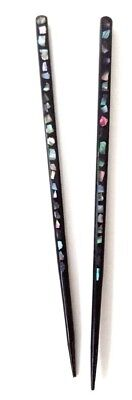 Vintage Pair Asian Black lacquer Abalone Inlay Hair Picks Sticks