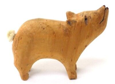 Small Vintage Carved Wooden Pig with Pipe Cleaner Tail and Personailty