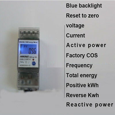 5(65)A 230V 50HZ din rail Energy meter voltage current active reactive power KWH