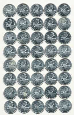 Roll Of (40) 1964 Canada 80% Silver Quarters Exact Shown - Free Shipping