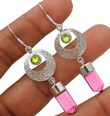 """10CT Rubellite Tourmaline 925 Solid Sterling Silver Earrings Jewelry 2 1/3"""" Long"""
