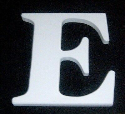 """White Wooden Alphabet Letter 'E' Wall Hanging - measures 7½"""" x 6¾"""" x 5/8"""""""