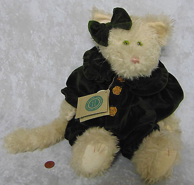 "NEW Boyds Teddy Bear CLEO CAT 16"" Large Bean Plush White Chenille Fur Green Eyes"