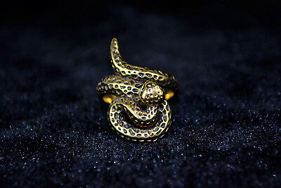 Vintage Collectible handwork Old Tibet copper carve snake chinese totem Ring