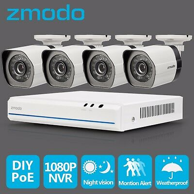 Zmodo 4CH HDMI NVR 4 1280*720P HD IP Network sPoE Home Security Camera System