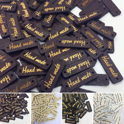 50Pcs/Set Wooden Hang Tag 'Hand made' with 2 Holes for DIY Sewing Small Gifts UK