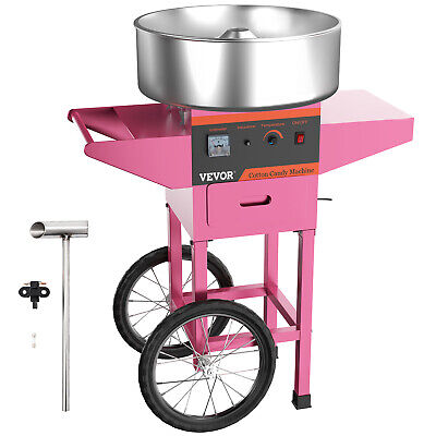 AC 110V Electric Commercial Cotton Candy Machine / Floss Maker Pink Cart Stand