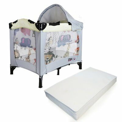 iSafe Mini Travel Cot With Bassinet And Canopy - Smiley And Cuddly + Mattress
