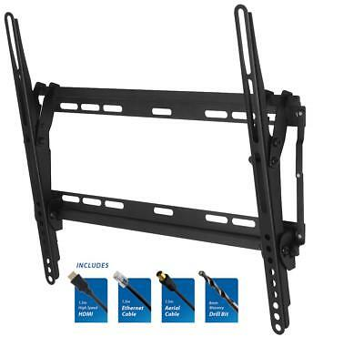 """TILTING TV Wall Bracket Mounting Kit 26"""" to 55"""" Screen + 1.5M Cables + Drill Bit"""