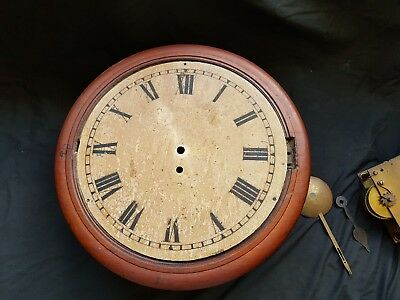 antique wall clock with fusse movement stamped t crook in need of tlc