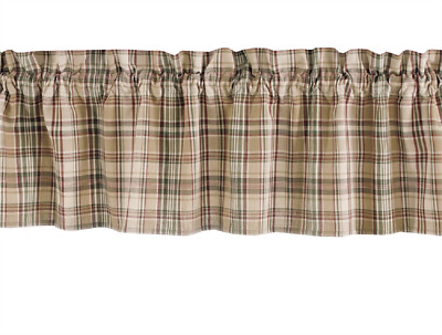 """Tan, Wine, Green Ivory Plaid Park Designs Unlined Country Window Valance 72""""x14"""""""