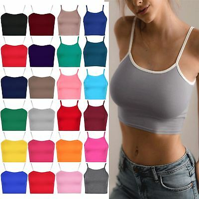 Womens Ladies Plain Camisole Contrast Strappy Sleeveless Bralet Vest Cropped Top