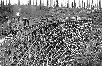 "1918 Logging Railroad Trestle, Washington Vintage Old Photo 11"" x 17"" Reprint"