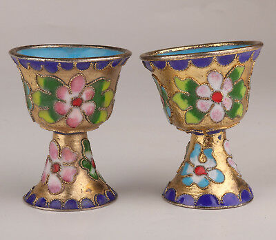 2 Cloisonne Statue Cup Old Handmade Handicraft Collection