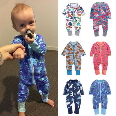 Pattern Long Sleeve Baby's Fashion Infants Casual Jumpsuit Zipper Cotton Romper
