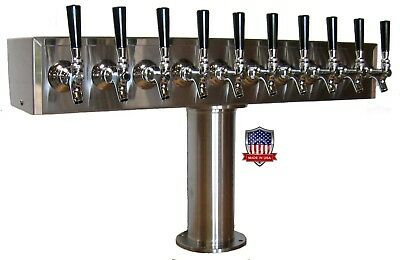 Stainless Steel Draft Beer Tower Made in USA -10 Faucets - AIR COOLED - TTB-10SS