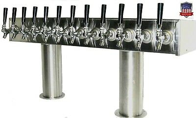 Stainless Steel Draft Beer Tower Made in USA- 12 Faucets - Air Cooled  PTB-12SS