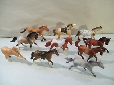 Lot Of 10 Small Breyer & New Ray Horse Figures Stallion
