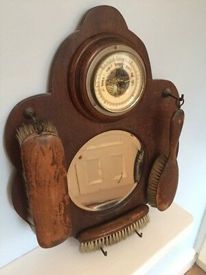 VINTAGE OAK ART DECO 1930's HALLWAY WALL BAROMETER  MIRROR 3x BRUSH VANITY SET