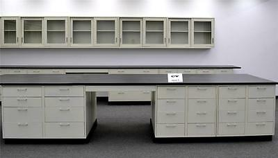Gently used  26' Laboratory Island  Cabinets Group w/  Counter Tops -